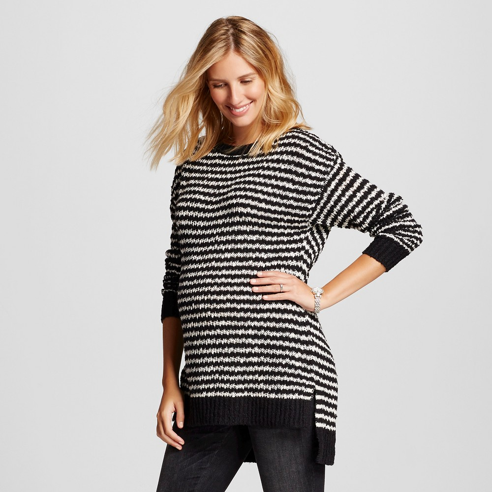 Maternity Texture Stripe Tunic Sweater Black/White L - Liz Lange for Target, Women's, Size: Large