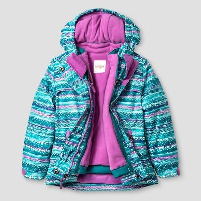 Baby Girls' Stripe Print 3-in-1 Jacket Baby Cat & Jack™ - Aqua 18M