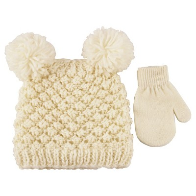 Girls' Double Pom Hat with Lurex and Mitten Set Ivory/Gold Toddler - Cat & Jack™