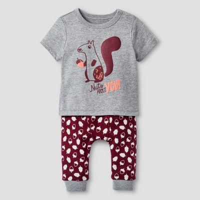 Baby Boys' 2 Piece Squirrel Set Baby Cat & Jack™ - Grey/Acorn 0-3M
