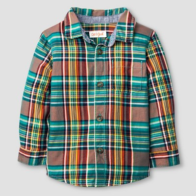 Baby Boys' Button Down Shirt Baby Cat & Jack™ - Multi Plaid 12 M