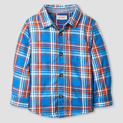Baby Boys' Button Down Shirt Baby Cat & Jack™ - Blue & Orange Plaid 18 M
