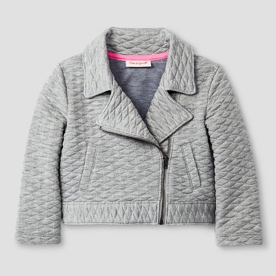 Baby Girls' Quilted Moto Jacket - Heather Gray 12M - Cat & Jack™
