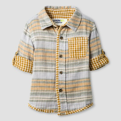 Baby Boys' Button Down Shirt - Gold Rush 12M - Genuine Kids™ from Oshkosh®