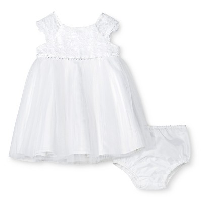 Baby Girls' Mesh Skirt Dress with Lace Cap Sleeve White 6M - Tevolio