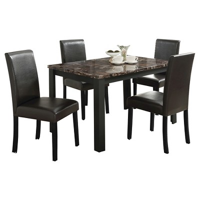 5 Piece Kylan Dining Set with Faux Marble Top Wood/Espresso - Acme