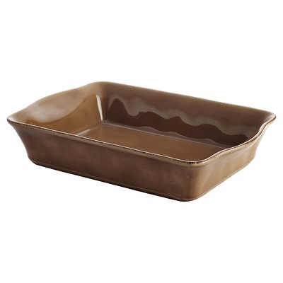 """Rachael Ray 9""""x13"""" Stoneware Rectangular Baker - Mushroom Brown"""