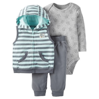 Just One You™Made by Carter's® Baby Boys' 3 Piece Hooded Vest Set - Grey/Light Blue 12M
