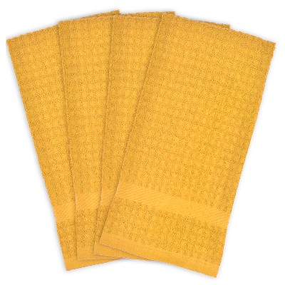 Solid Waffle Dishtowels - Set of 4 - Mustard