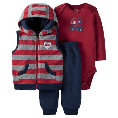 Just One You™Made by Carter's® Baby Boys' 3 Piece Hooded Vest Set - Burgundy/Navy 6M