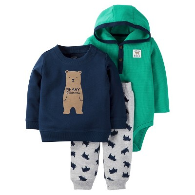 Just One You™Made by Carter's® Baby Boys' 3 Piece Bear Set - Navy/Teal NB