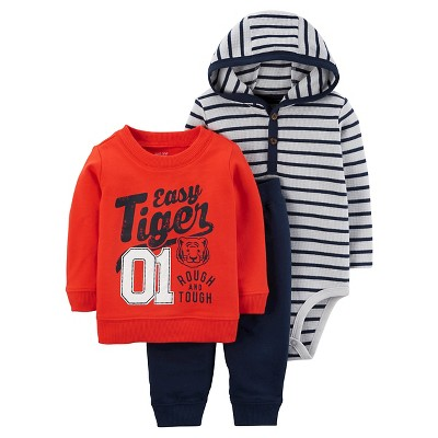 Just One You™Made by Carter's® Baby Boys' 3 Piece Easy Tiger Set - Orange/Grey 9M