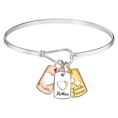 "Silver Plated Mother Daughter Friend Catch Bangle - Silver/Rose/Yellow Gold (7.5"")"