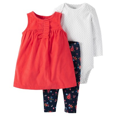 Just One You™Made by Carter's® Baby Girls' 3 Piece Jumper and Legging Set - Red/Floral 3M