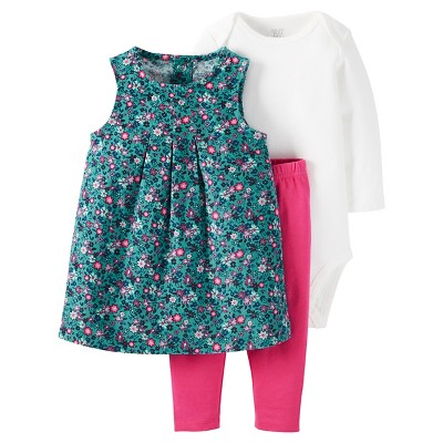 Just One You™Made by Carter's® Baby Girls' 3 Piece Floral Jumper/Solid Legging Set - Blue/Pink 3M