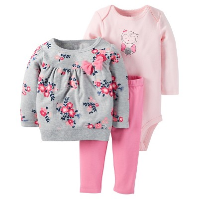 Just One You™Made by Carter's® Baby Girls' 3 Piece Floral Top/Solid Legging Set - Grey/Pink 3M