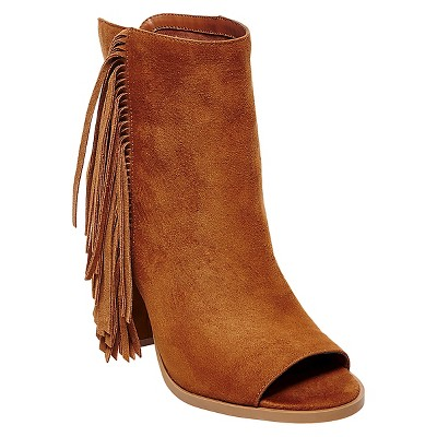 Women's dv Lotus Peep Toe Fringe Booties - Saddle Brown 9