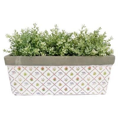 "Esschert Design 16x6.2x5.9x"" Ceramic Balcony Planter in Botanica Garden Print"