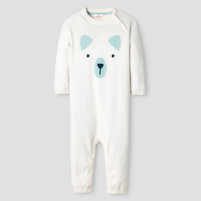 Baby Boys' Long-Sleeve Bear Face Sweater Coverall Baby Cat & Jack™  - Cream 0-3M
