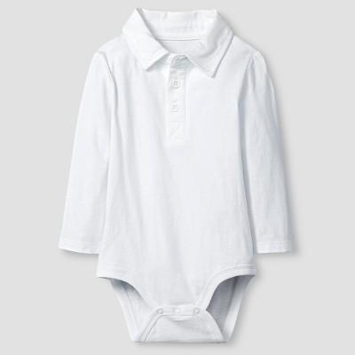 Baby Boys' Long-Sleeve Polo Bodysuit Baby Cat & Jack™  - White 6-9M