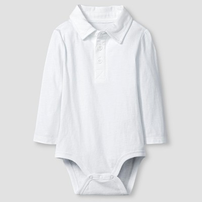 Baby Boys' Long-Sleeve Polo Bodysuit Baby Cat & Jack™  - White 0-3M