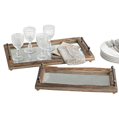 Rustic Wooden Tray - Set of 2 pcs