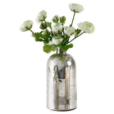 """Silver Mercury Glass Bottle - 10""""x5.25"""""""