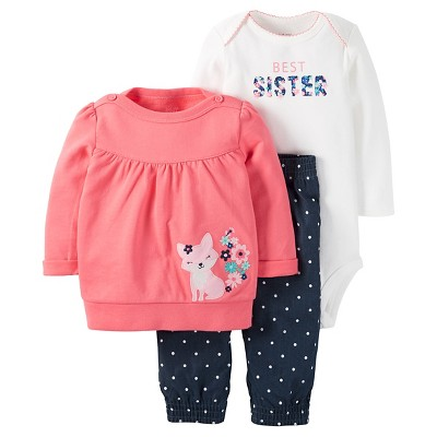 Just One You™Made by Carter's® Baby Girls' 3 Piece Fox Top/Dot Legging Set - Pink/Chambray 3M
