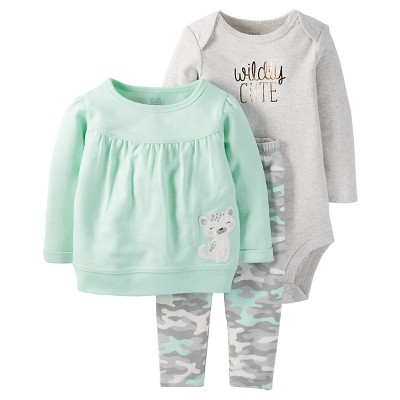 Just One You™Made by Carter's® Baby Girls' 3 Piece Top/Camo Legging Set - Mint/Grey 6M