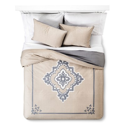 Architectural Tile Duvet and Sham Set Queen Tan - The Industrial Shop™
