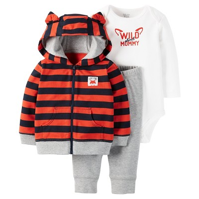 Just One You™Made by Carter's® Baby Boys' 3 Piece Hoodie with Ears Set - Orange/Heather Grey - 3M