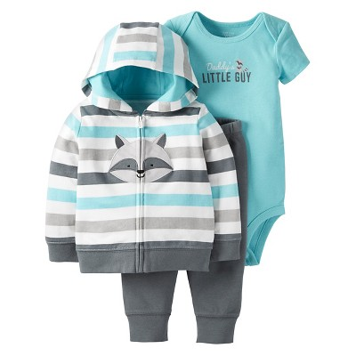Just One You™Made by Carter's® Baby Boys' 3 Piece Multi Stripe Raccoon Set - Teal/Grey - NB