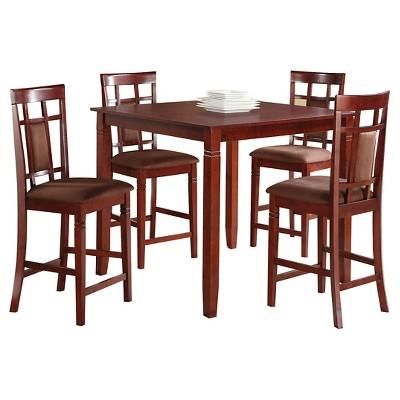 5 Piece Sonata Counter Height Dining Set Wood/Cherry/Chocolate Microfiber - Acme
