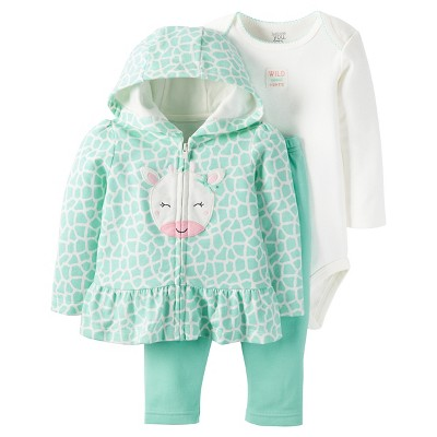 Just One You™Made by Carter's® Baby Girls' 3 Piece Hooded Giraffe Set - Mint - 3M