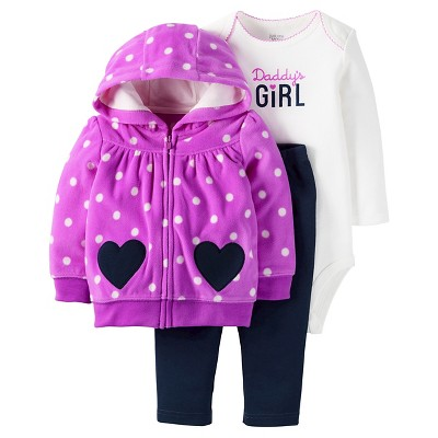 Just One You™Made by Carter's® Baby Girls' 3 Piece Daddy's Girl Set - Purple/Navy - NB