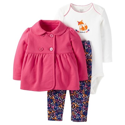 Just One You™Made by Carter's® Baby Girls' 3 Piece Fox Set - Pink/Floral - NB