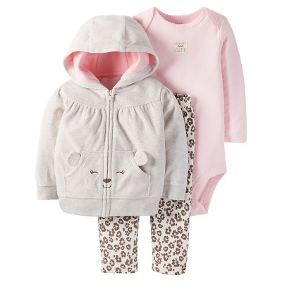 Just One You™Made by Carter's® Baby Girls' 3 Piece Hooded Bear Set - Light Grey/Animal Print - NB