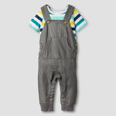 Baby Boys' Striped Bodysuit and Overall Baby Cat & Jack™  - Grey 3-6M