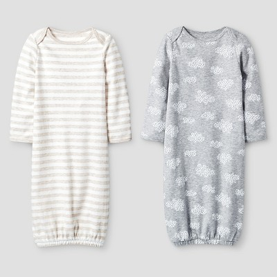 Baby 2 Pack Organic Sleep Gowns Baby Cat & Jack™ - White/Heather Grey