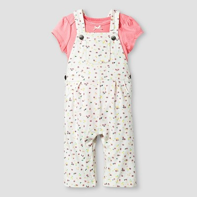 Baby Girls' Bodysuit and Print Overall Baby Cat & Jack™  - Pink 3-6M