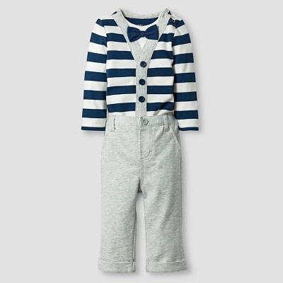 Baby Boys' Little Man Bowtie Striped Bodysuit and Pant Baby Cat & Jack™  - Blue/Grey 6-9M