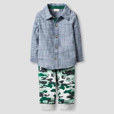 Baby Boys' Faux Chambray Shirt and Camo Pant Baby Cat & Jack™  - Blue/Camo 0-3M