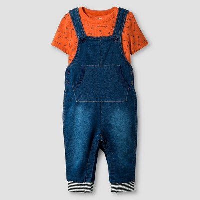 Baby Boys' Bodysuit and Denim Overall Baby Cat & Jack™  - Medium Wash 0-3M