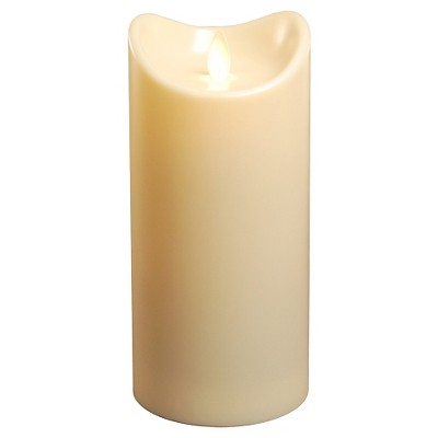 "Action Flame LED Pillar Candle - Cream (3.5"" x 7"")"