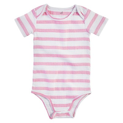 Aden + Anais® Baby Girls' Short-Sleeve Darling Stripe Bodysuit - Pink/White 0-3M