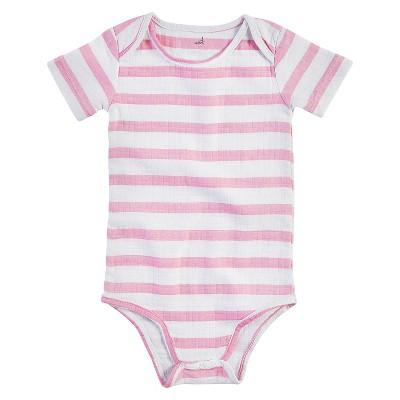 Aden + Anais® Baby Girls' Short-Sleeve Darling Stripe Bodysuit - Pink/White 0-3M