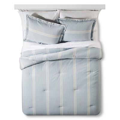 Linen Stripe Comforter Set Queen Blue - Industrial Shop™