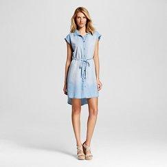 Women's Short Sleeve Denim Shirt Dress - LUX II