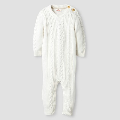 Baby Long-Sleeve Cable Front Sweater Coverall Baby Cat & Jack™  - Almond Cream 0-3M
