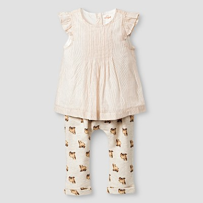 Baby Girls' Stripe Top and Bear Print Leggings Baby Cat & Jack™  - Almond Cream NB